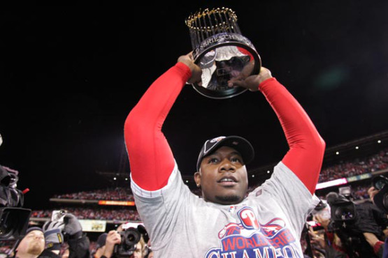 Ryan Howard holds up the trophy after winning the World Series 4 to 3 against Tampa Bay Rays at Citizens Bank Park on October 29, 2008. ( Barbara L. Johnston / Staff Photographer ) (The Philadelphia Inquirer and Daily News) The Philadelphia Phillies and the Tampa Bay Rays resumed game five of the World Series at Citizens Bank Park on Wednesday, October 29, 2008.